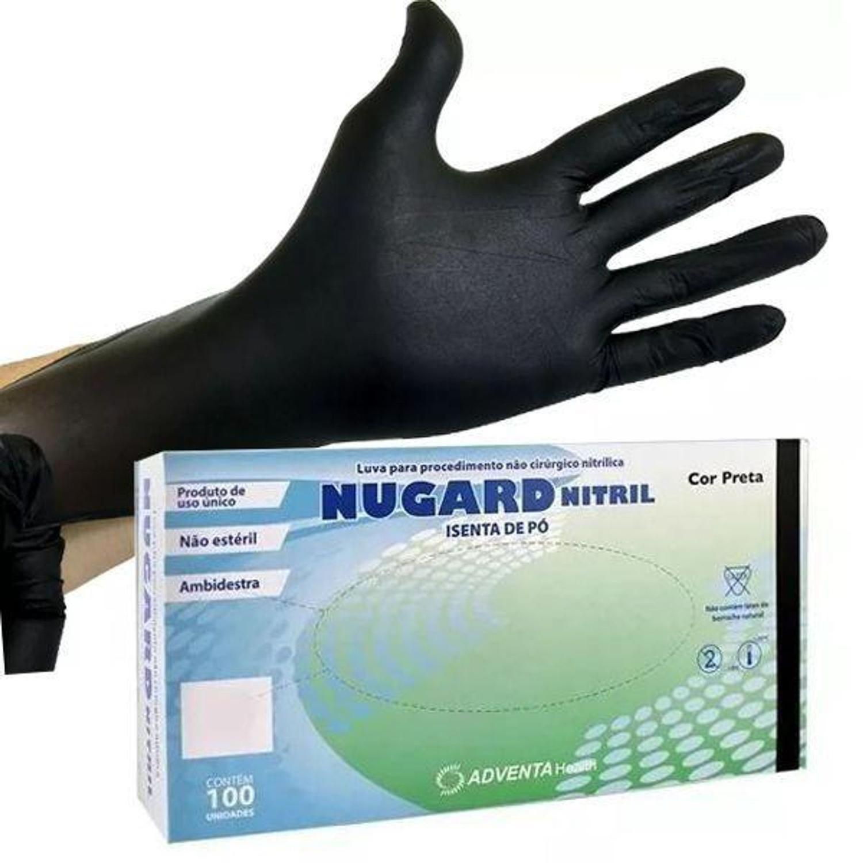 Luvas De Procedimento Nitrilica preta Sem Po Nugard:  caixa com 100 Unid