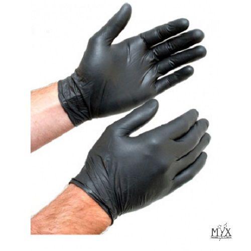 Luvas Nitrilicas Descartável Preta Proteção Cx C/100 Sem Pó