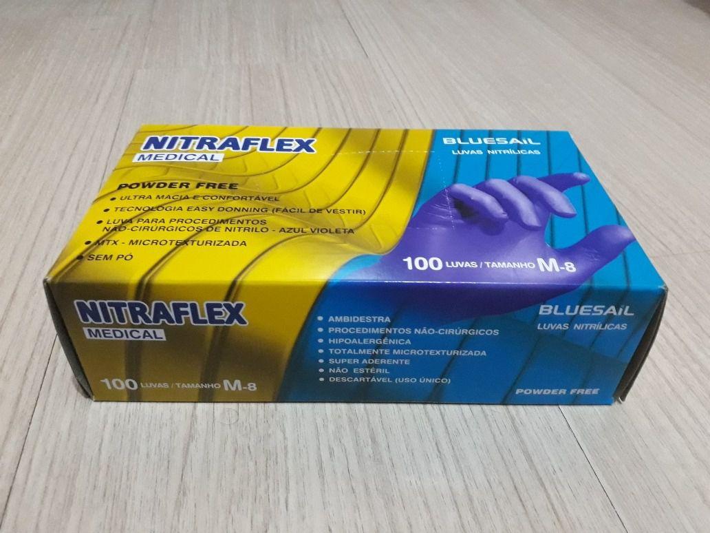 Luvas Nitrilíca Medical Azul Violeta Nitraflex Cx com 100