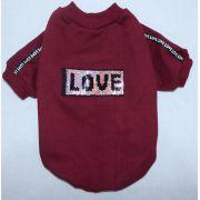 Blusa de Moletom para Cachorro Love Vinho