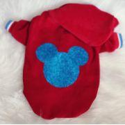 Blusa para Cachorro Mickey Vermelha com capuz