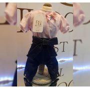 Macacão calça jeans com blusa em plush