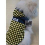 Camisa Para Cachorro Regata Jeans Xadrez Amarelo