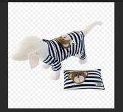 Pijama Listras Preta com Travesseiro