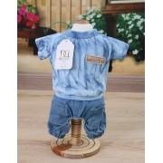 Shorts Jeans para Cachorro Azul Tie Dye