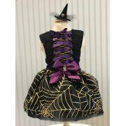 Fantasia para Cachorro Vestido Bruxa Halloween