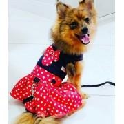 Peitoral para Cachorro Vestido com Guia - Minnie Vermelha