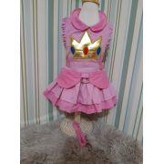 Peitoral para Cachorro Vestido com Guia - Princesa Peach - Mario
