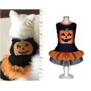 Fantasia para Cachorro Vestido Halloween Abóbora