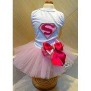 Fantasia para Cachorro Vestido Supergirl Rosa