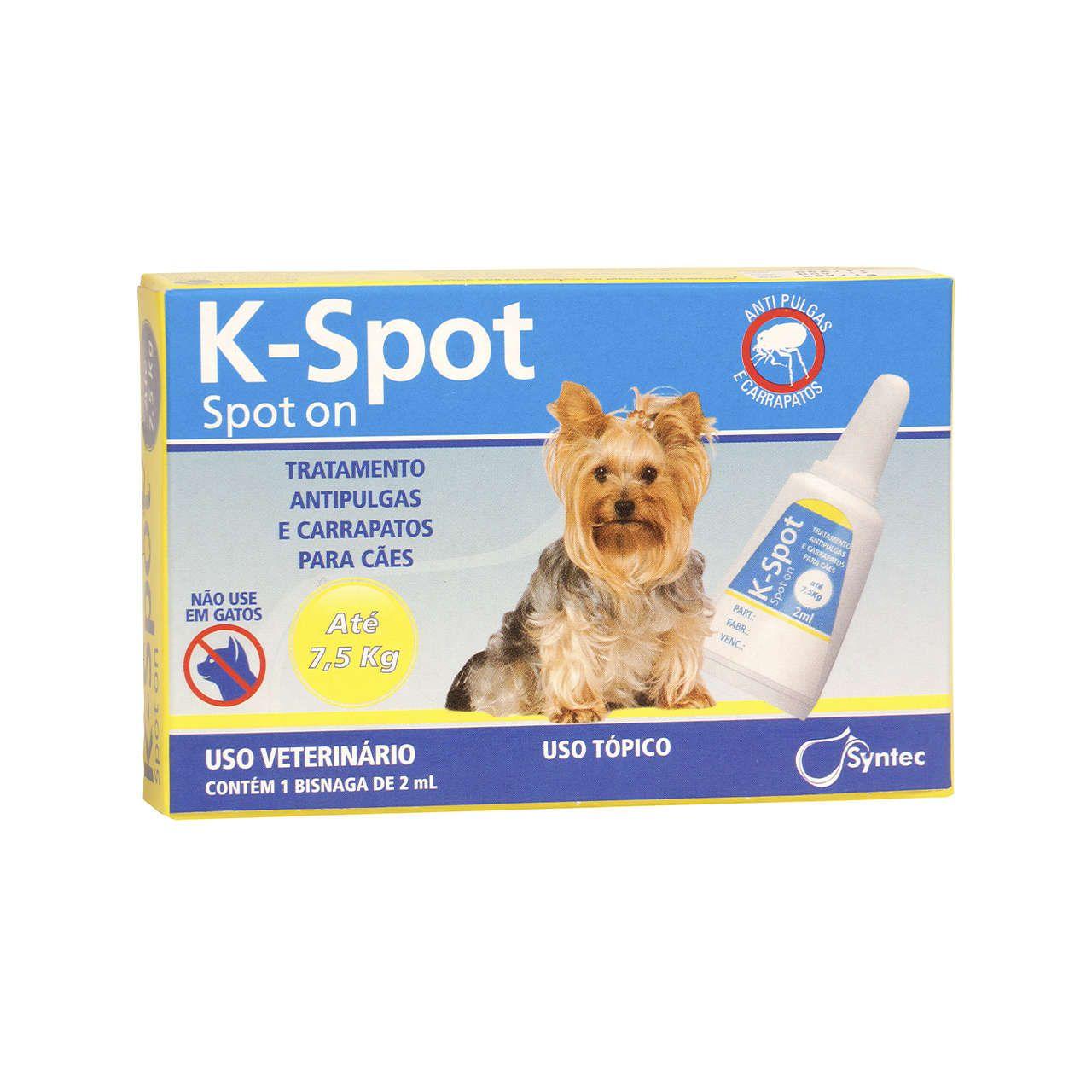 Antipulgas e Carrapatos Syntec K-Spot 2 mL para Cães de até 7,5 Kg
