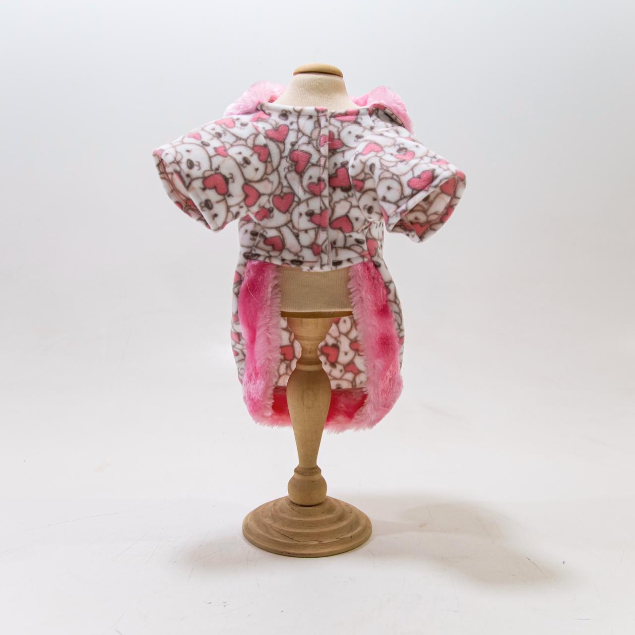 Blusa com gola de pelinhos rosa