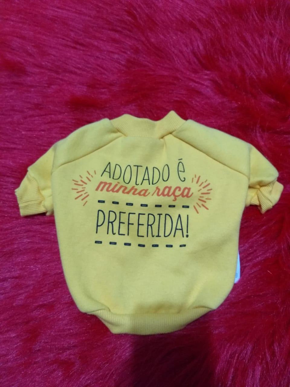 Blusa de Moletom para cachorro Amarela Estopinha