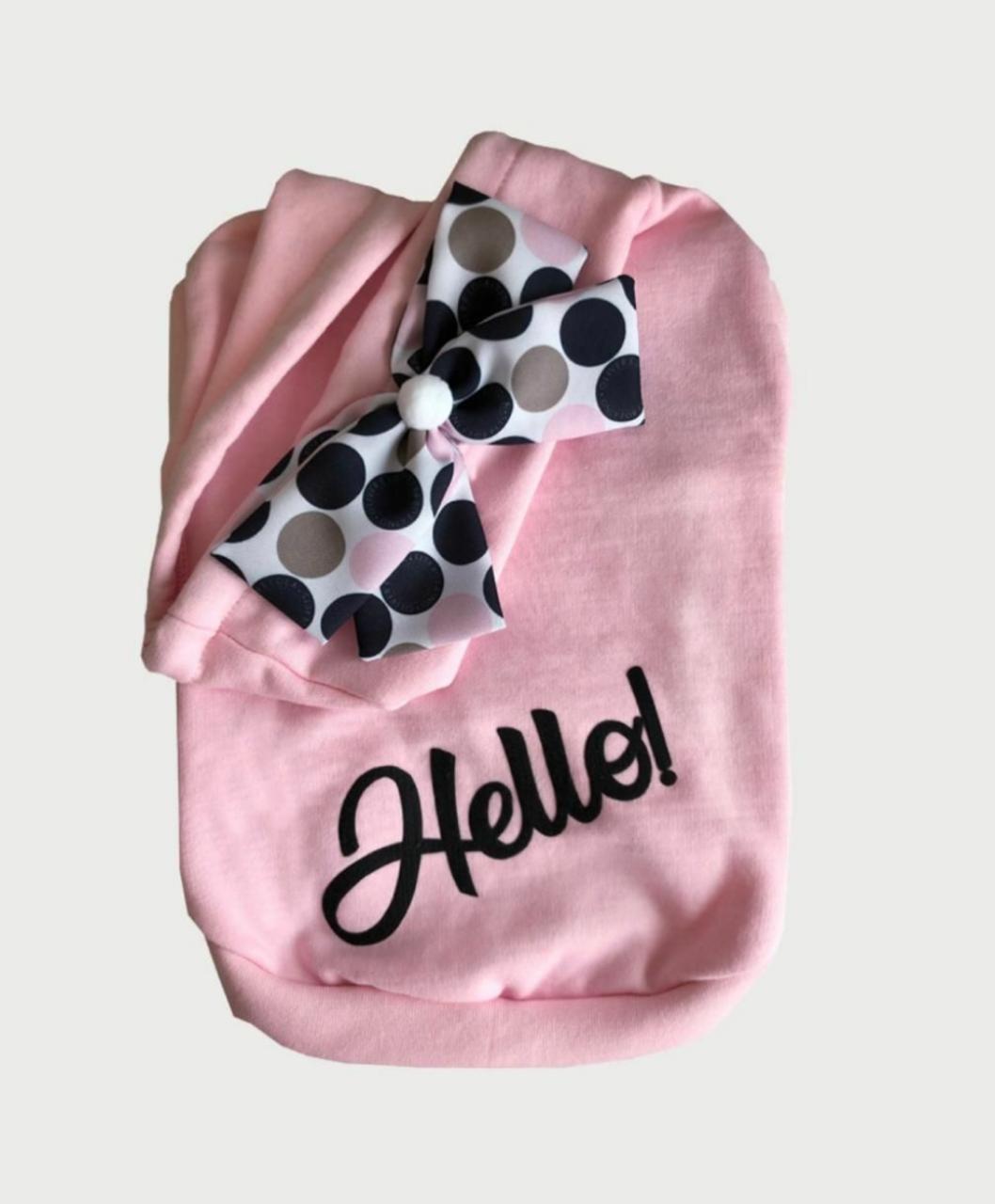 Blusa De Moletom para Cachorro Hello- Rosa