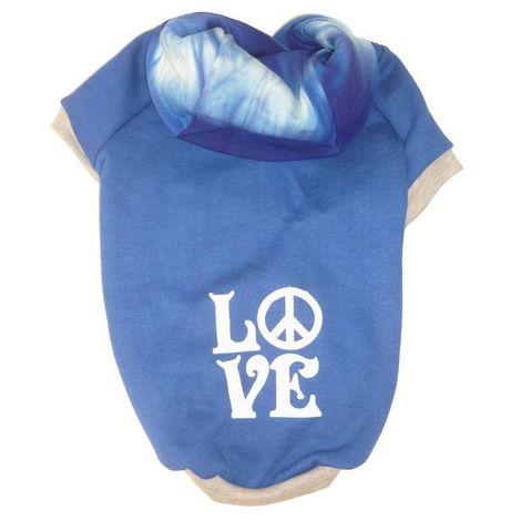 Blusa De Moletom para Cachorro Love Azul