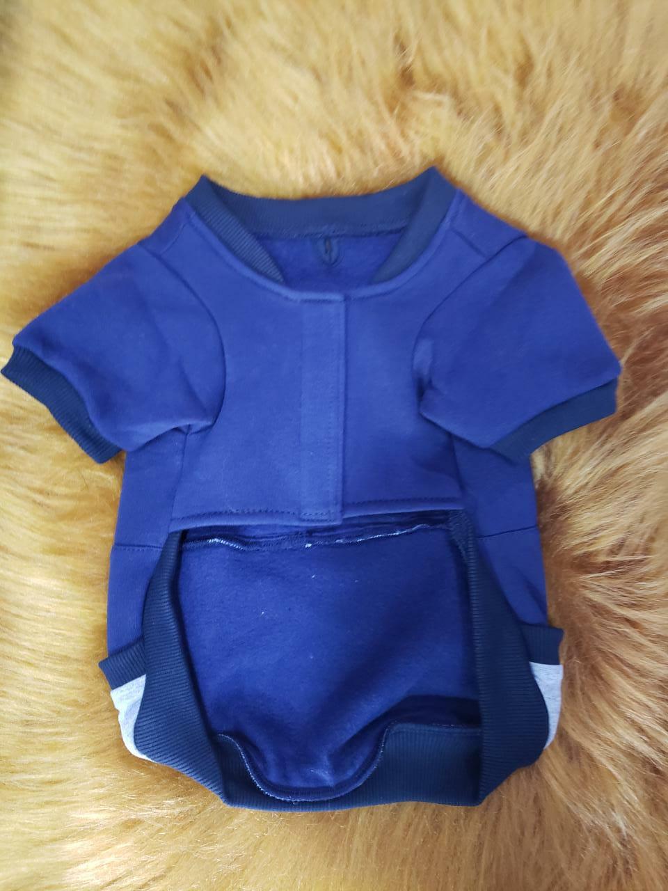 Blusa De Moletom para Cachorro Rostinhos - Azul Marinho (Sem Touca)