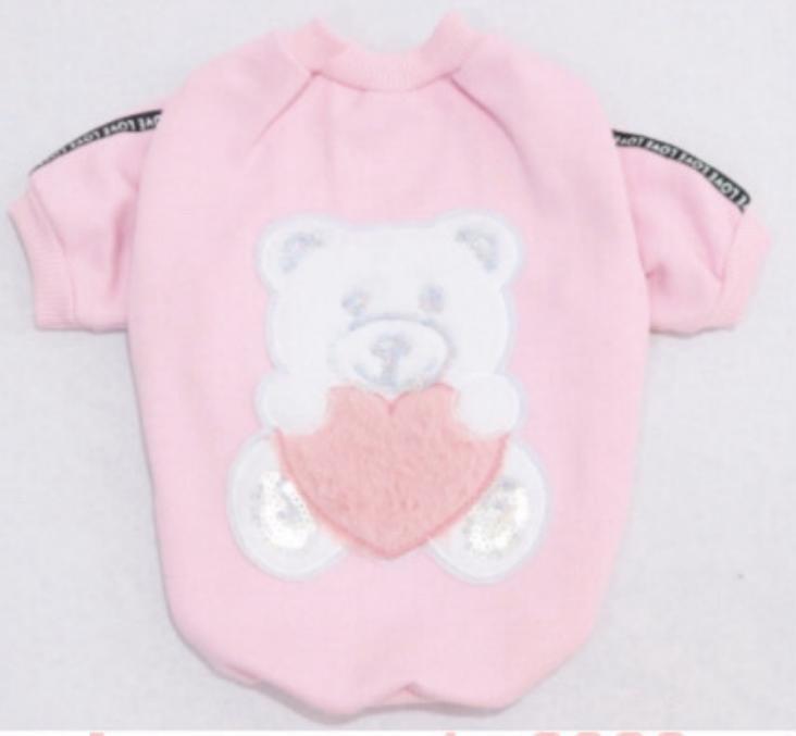 Blusa de Moletom para Cachorro Ursinho Coração