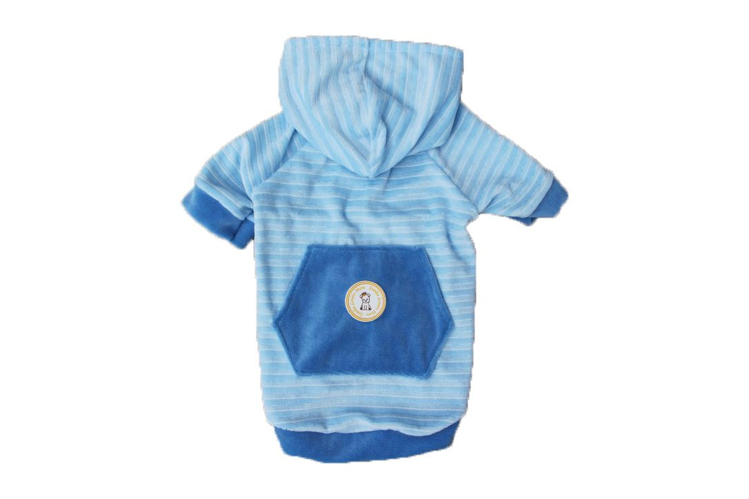 Blusa para Cachorro - Moletom Plush Com Capuz Azul