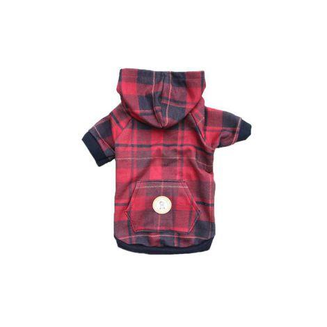 Blusa para Cachorro - Xadrez Vermelha Com Touca