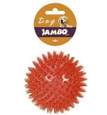 Brinquedo para Cachorro Bola TPR Espinho com Som - Grande - Azul, Roxo e Vermelho