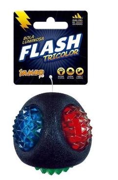 Brinquedo para Cachorro Bola Flash Luminosa Tricolor