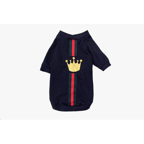 Camiseta  para Cachorro Coroa Dourada - Branca e Preta