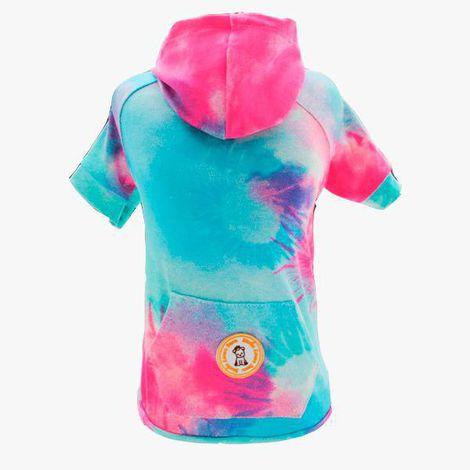 Camiseta para Cachorro Tie Dye Capuz Azul