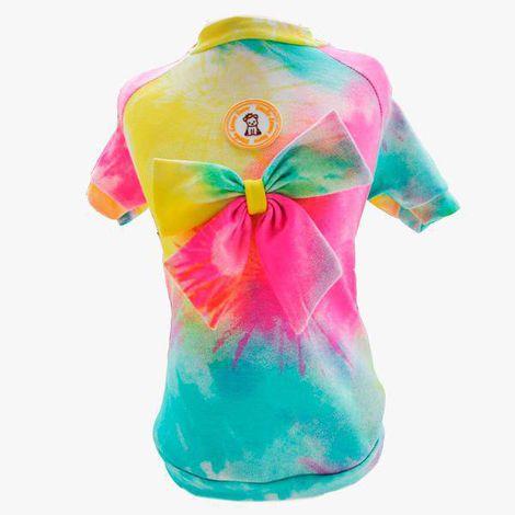 Camiseta Tie Dye Laço Amarelo