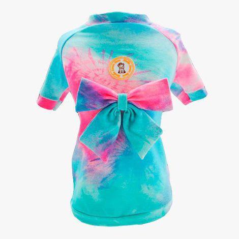 Camiseta Tie Dye Laço Azul
