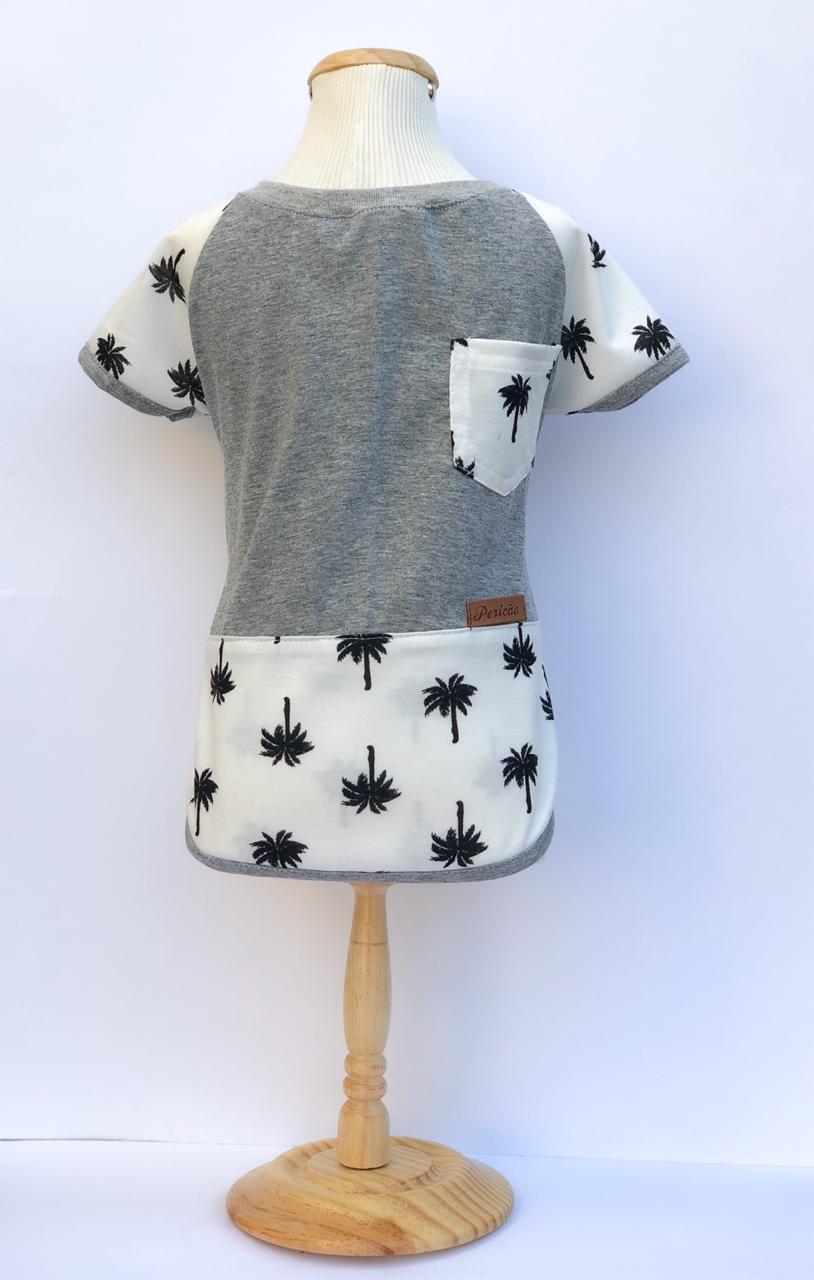 Camiseta para Cachorro - Tropical Cinza