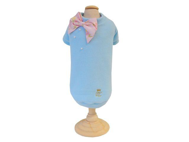 Casaco Canelado Laço - Azul