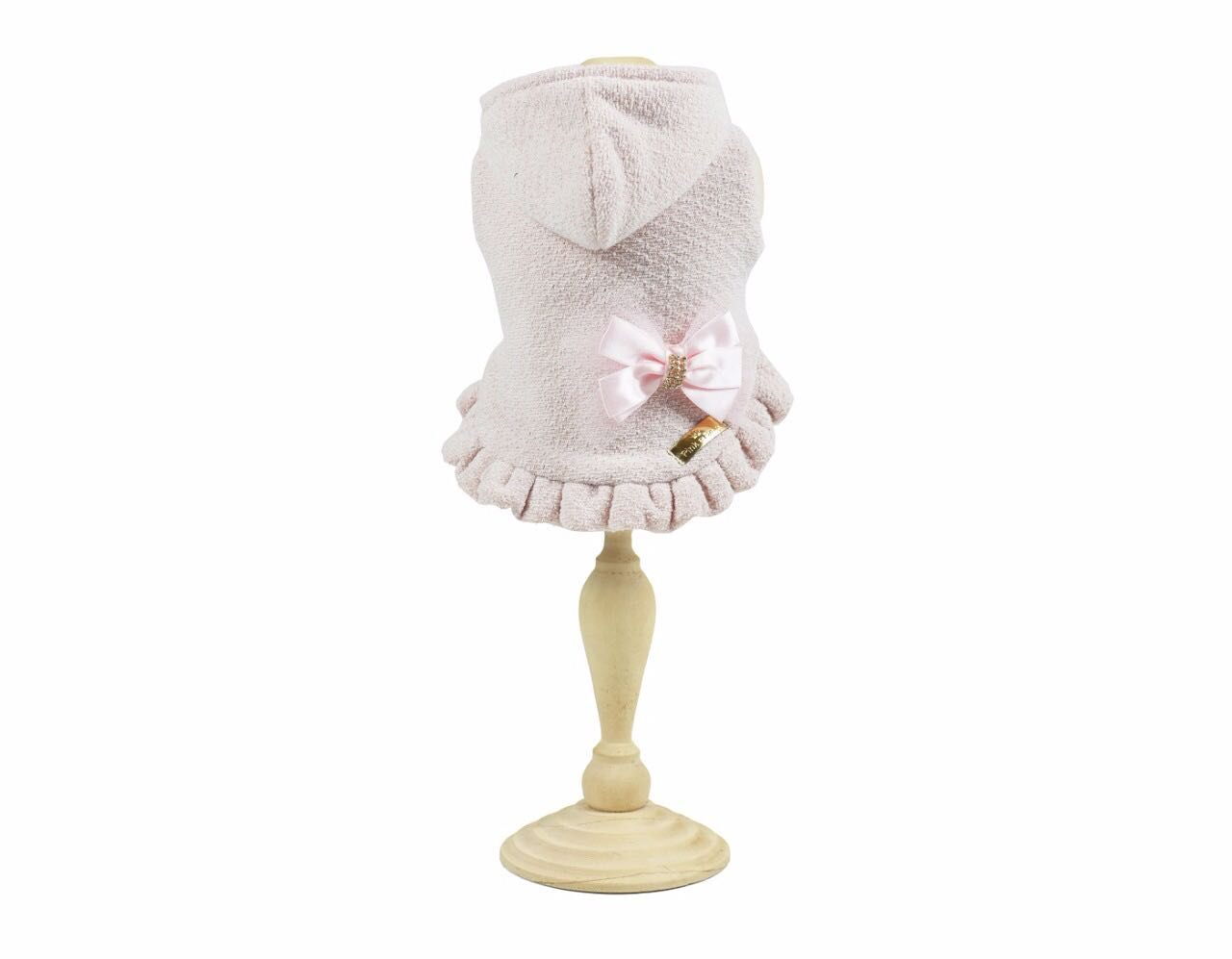 Casaco Com Touca Tweed Rosa