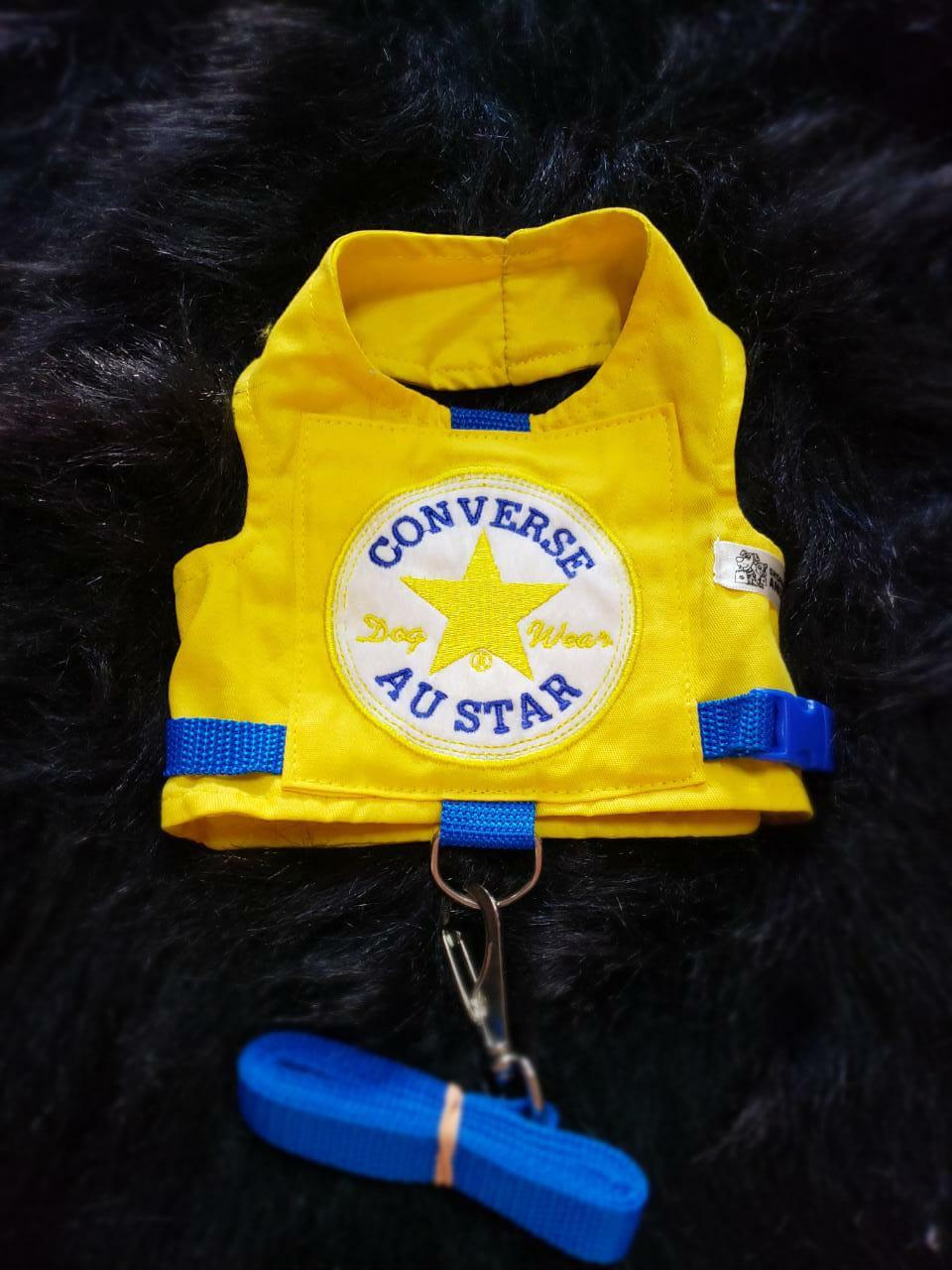 Coleira Peitoral para Cachorro Converse Au Star Amarela