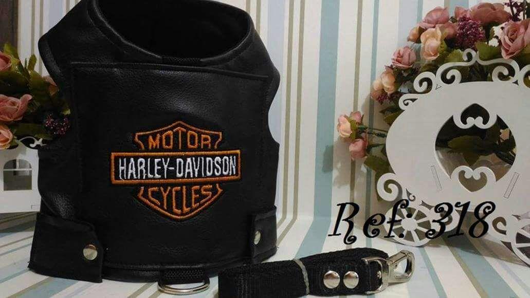 Coleira Peitoral para Cachorro Harley Davidson Couro Preta