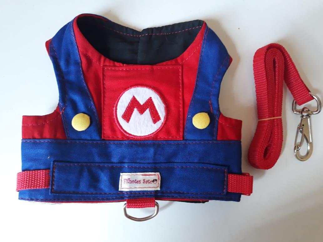 Coleira Peitoral para Cachorro Mario Bros