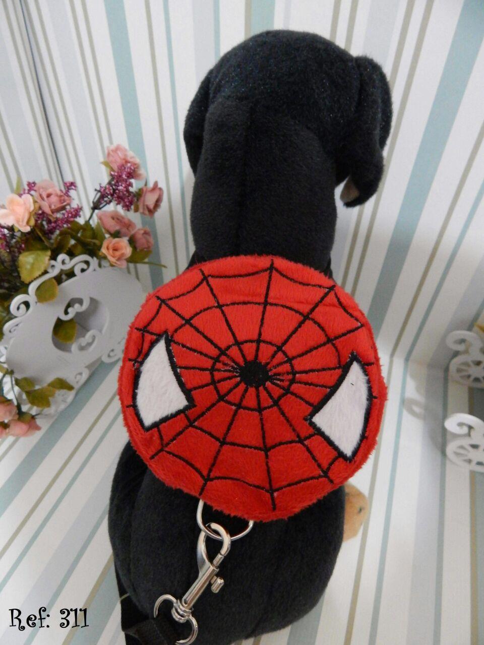 Coleira Peitoral Mochila para Cachorro - Homem Aranha