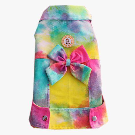 Jaqueta para Cachorro Tie Dye Amarela Laço