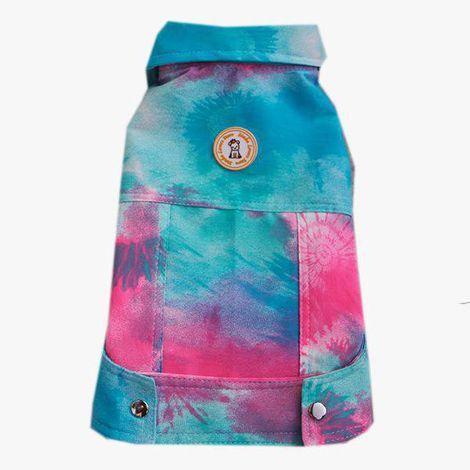 Jaqueta Tie Dye Azul com rosa