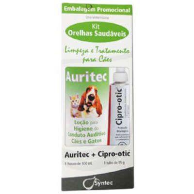 Kit Otológico Syntec Auritec 100 ml + Cipro Otic 15 g para Cães - Kit