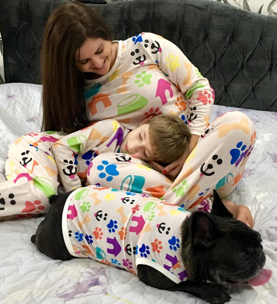 Kit Tal Família - Tal Pet= 1Pet + 1Adulto Feminina + 1Criança (Diversas Estampas)