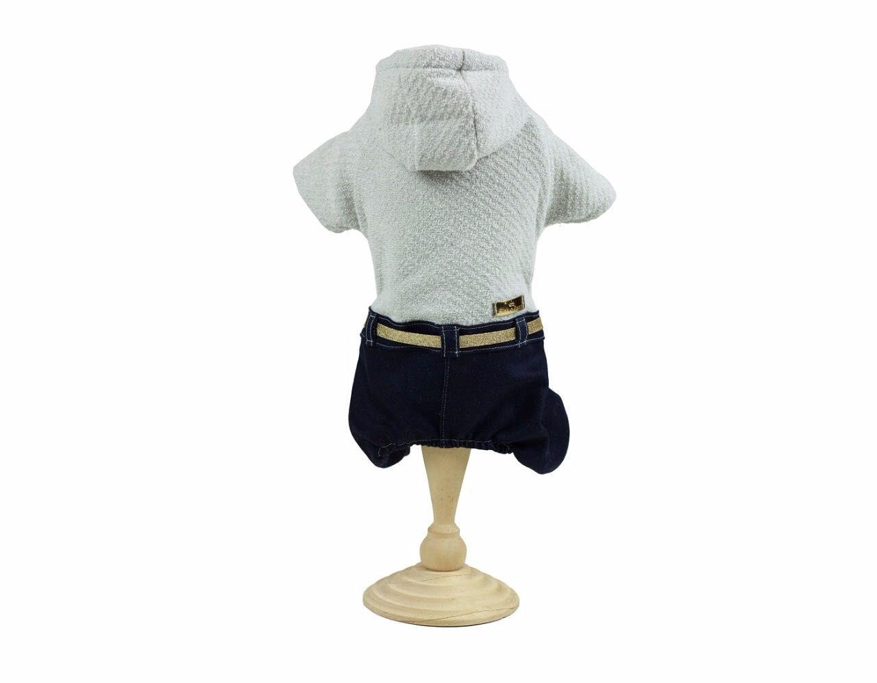 Macacão Com Calça Jeans - Gelo