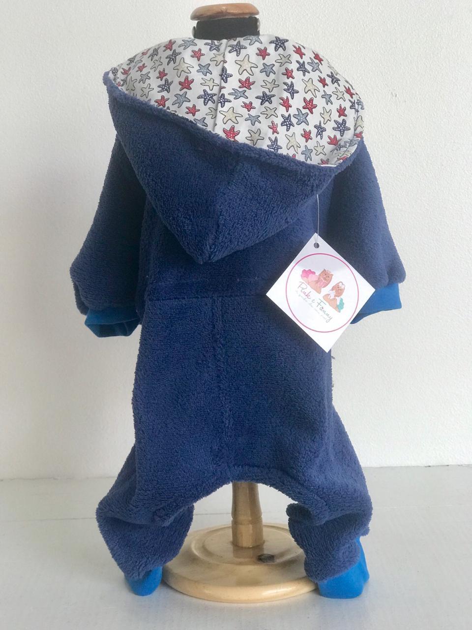 Macacão Plush Azul - Touca estampa variadas