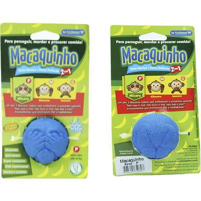 Brinquedo para Cachorro Bola Macaquinho Azul com Dispenser de Ração ou Petisco