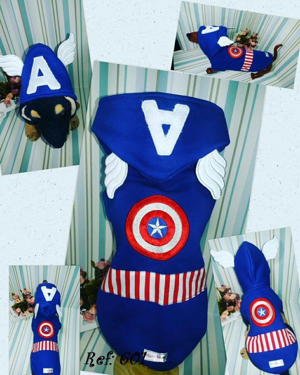Blusa de Moletom  para Cachorro Capitão América