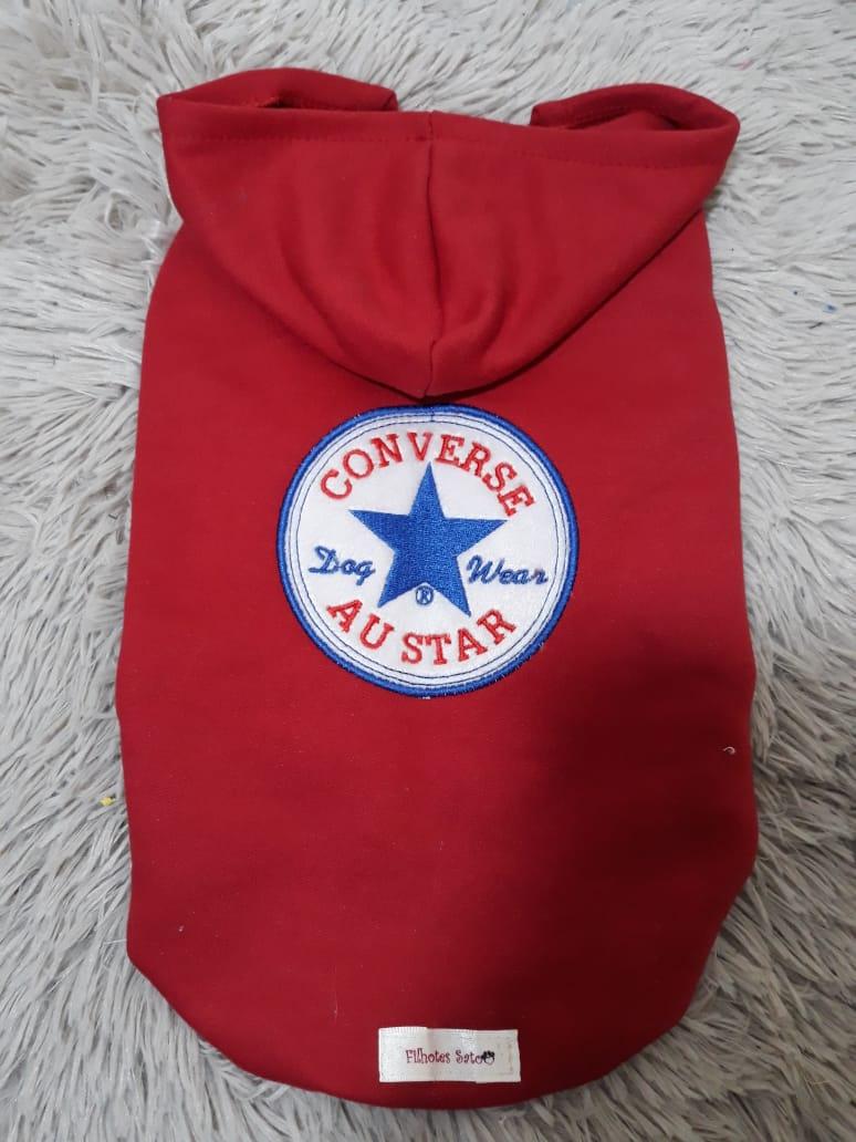 Blusa Moletom para Cachorro Converse Vermelho