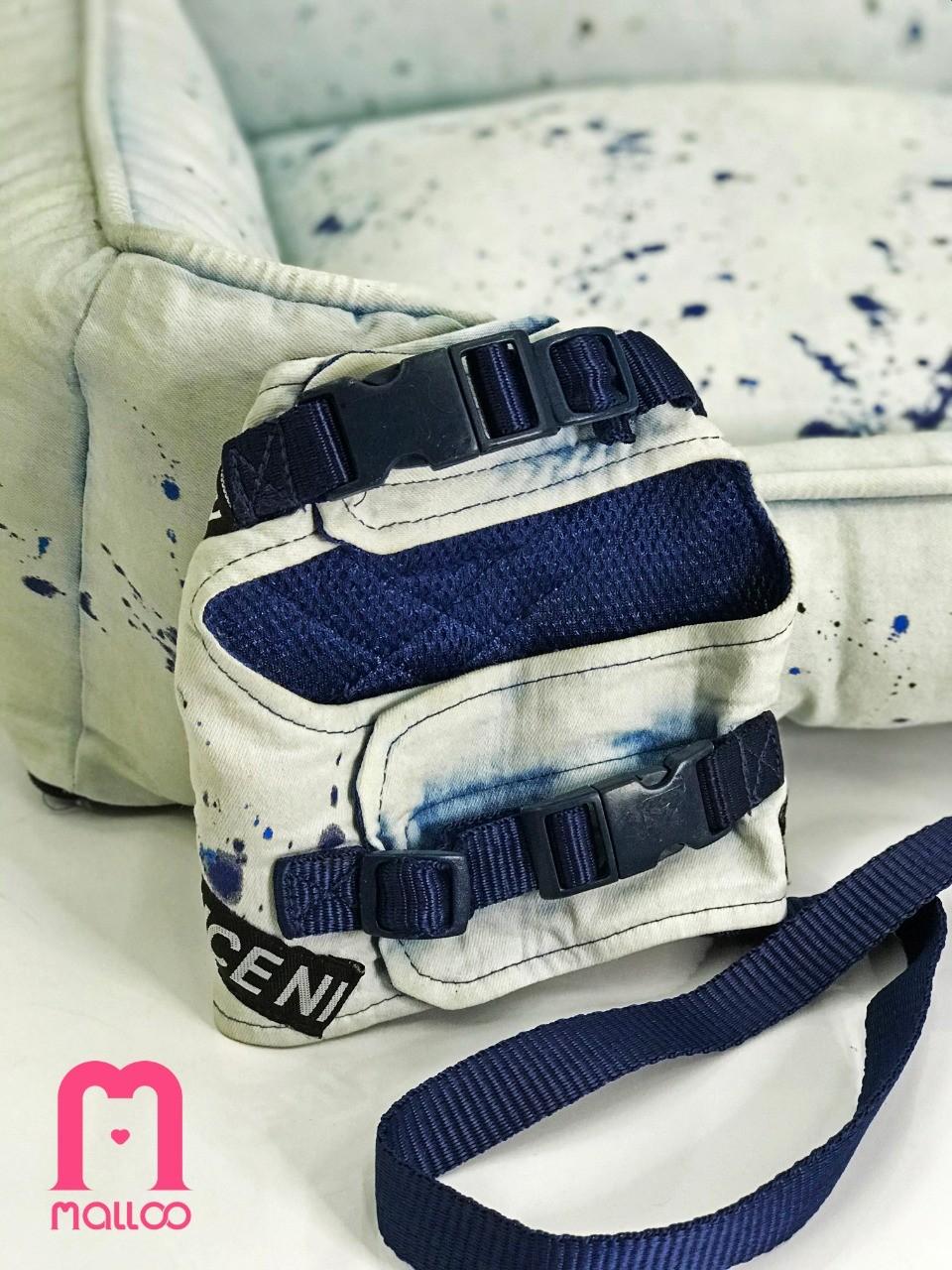 Coleira Peitoral para Cachorro Jeans Splash Azul