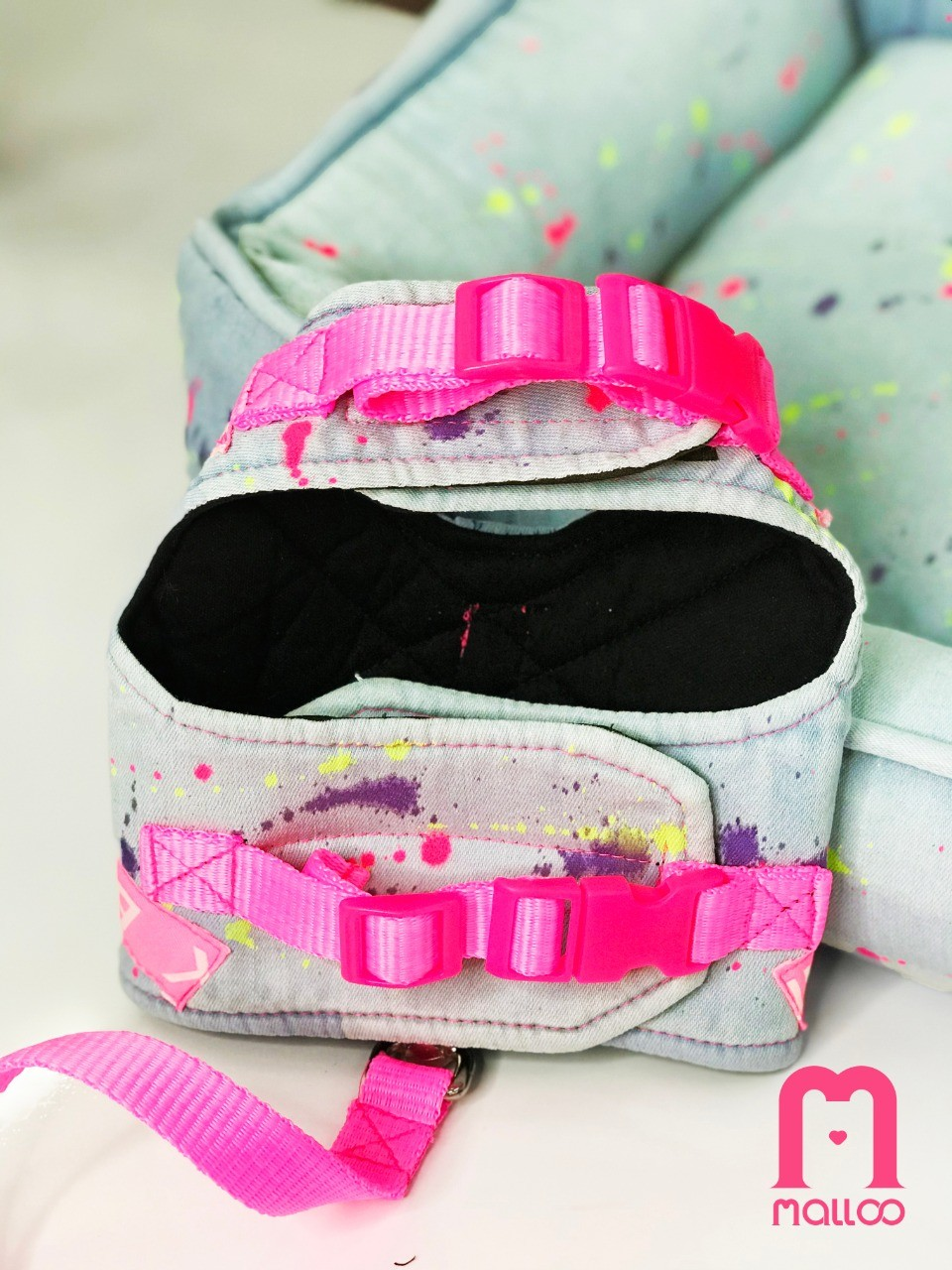 Coleira Peitoral para Cachorro Jeans Splash Rosa