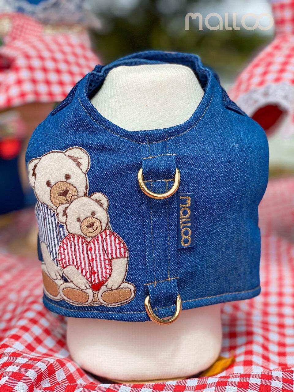 Coleira Peitoral para Cachorro Jeans Urso