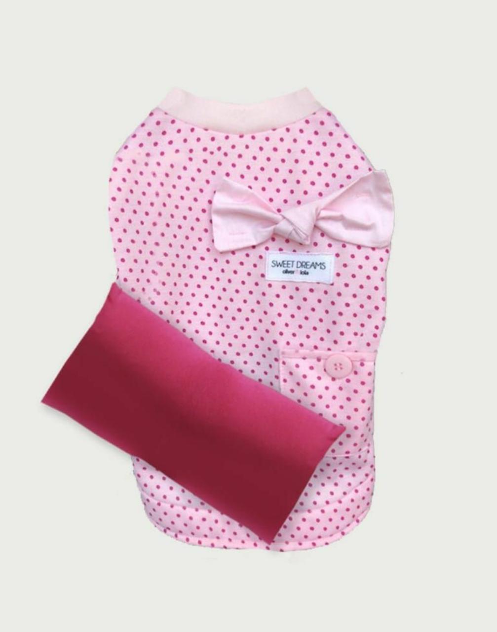 Pijama Poá com Laco Rosa e Travesseiro