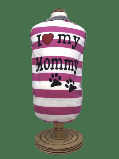 Regata para Cachorro I Love My Mommy - Cinza e Rosa